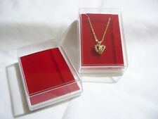 Clear Plastic Cover Display Showcase Jewelry Gift Box Fits pendant & Earring