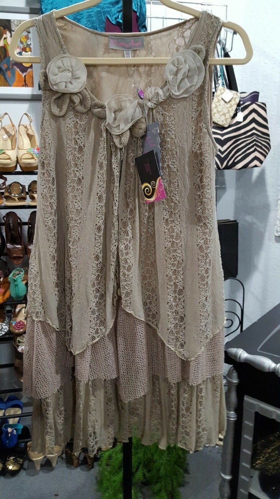 NWT PRETTY ANGEL TAN MULTILAYER IRREGULAR LACE NET TIERED TUNIC TOP DRESS SZ. S