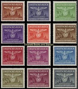 EBS-Generalgouvernement-1943-Officials-Dienstmarken-Michel-D25-36-MNH