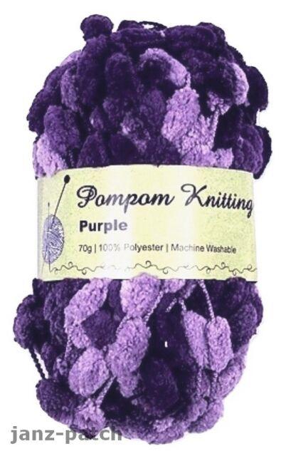 PomPom Knitting Crochet Yarn soft with big bobbles 3 x 70g - Purple & Mauve mix