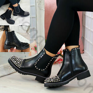 New Womens Chelsea Ankle Boots Studs Chunky Low Heel High Top Ladies Shoes Size