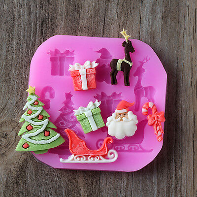 Christmas Silicone Molds For Fondant Cake Tools DIY Baking Chocolate Candy Resin