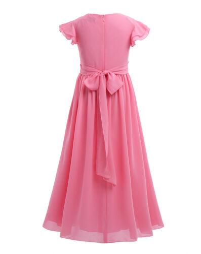 Kid Princess Chiffon Dress Flower Girl Long Dress Wedding Junior Bridesmaid Prom