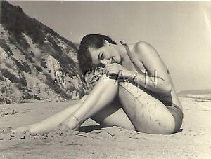 Details about Org Vintage Amateur Semi Nude 1940s-60s RP- Sea Grass-  Bikini- Endowed Brunette