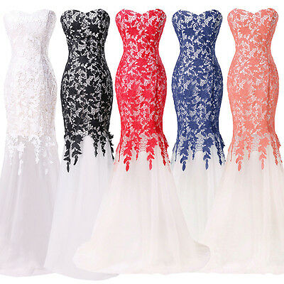 Ivory LACE Vintage Long Prom Dress Bridesmaid Mermaid Formal COCKTAIL Ball Gowns