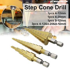 3-12mm HSS Cobalt Hex Shank Step Cone Drill Bit Hole Saw Cutter Tool 9steps #ur
