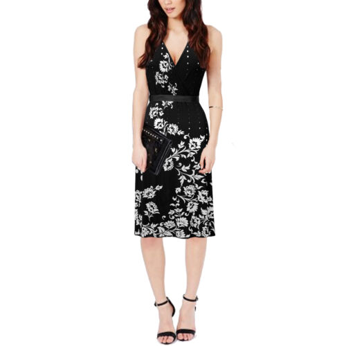 NEW BLACK /& WHITE FLORAL HALTERNECK WIGGLE PARTY DRESS SIZE 8-12 BNWT