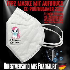 FFP2 Maske Mundschutz Atemschutz Maske zertifiziert Einhorn Ich hasse Corona