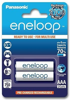 2x Panasonic Eneloop AAA Rechargeable Battery R3 2100x 750mAh 1.2V  BL121 GB