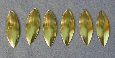12 Worth Mfg #4 Polished Brass Lacquered Willow Leaf Spinnerbait Blades *94044SM