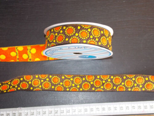 1m 30mm brown orange jacquard embroidered ribbon lace applique motif trimming