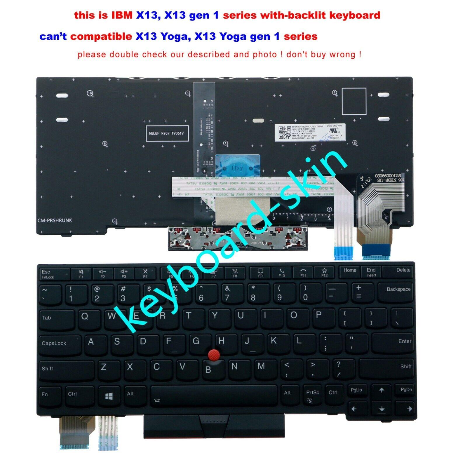New for lenovo IBM Thinkpad X13 ,X13 gen 1,series laptop US Keyboard backlit