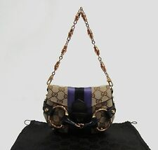 Gucci 129498 GG Logo Khaki Canvas Horsebit & Web Detail Small Clutch Bag