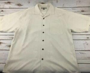 TOMMY-BAHAMA-Men-s-Size-LARGE-Palm-Tree-HAWAIIAN-100-Silk-Button-Down-SHIRT