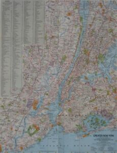 Road Map Of Manhattan.1964 Road Map New York City Manhattan Brooklyn Queens Bronx Staten
