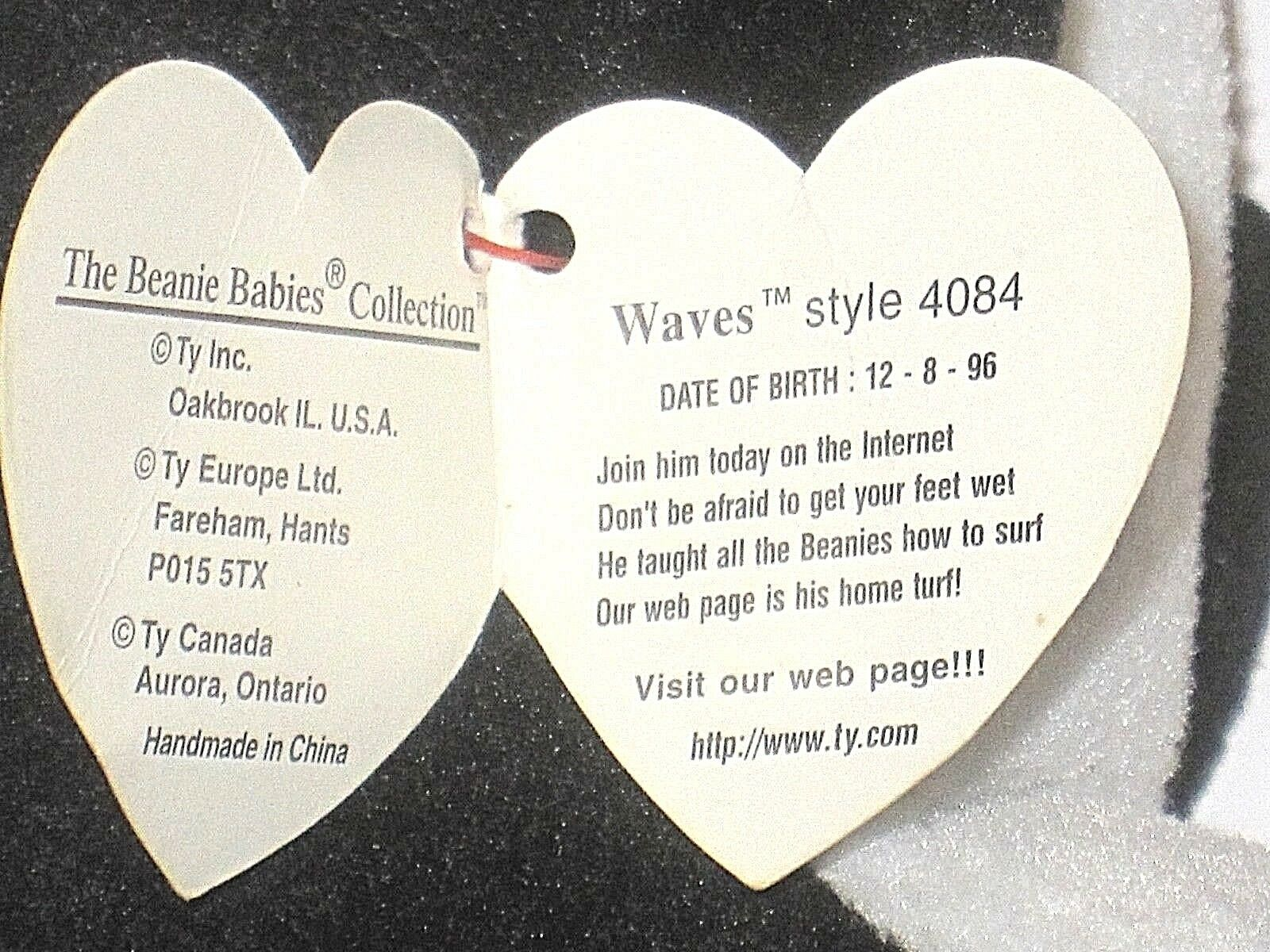 Ty Beanie Baby Waves The Whale Echo Tags PVC PVC PVC Errors Rare 0be432