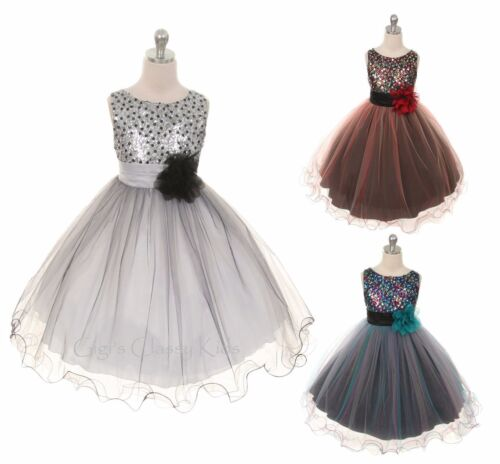 New Flower Girls Dress Tulle Sequins Pageant Wedding Baby Party Fancy Christmas