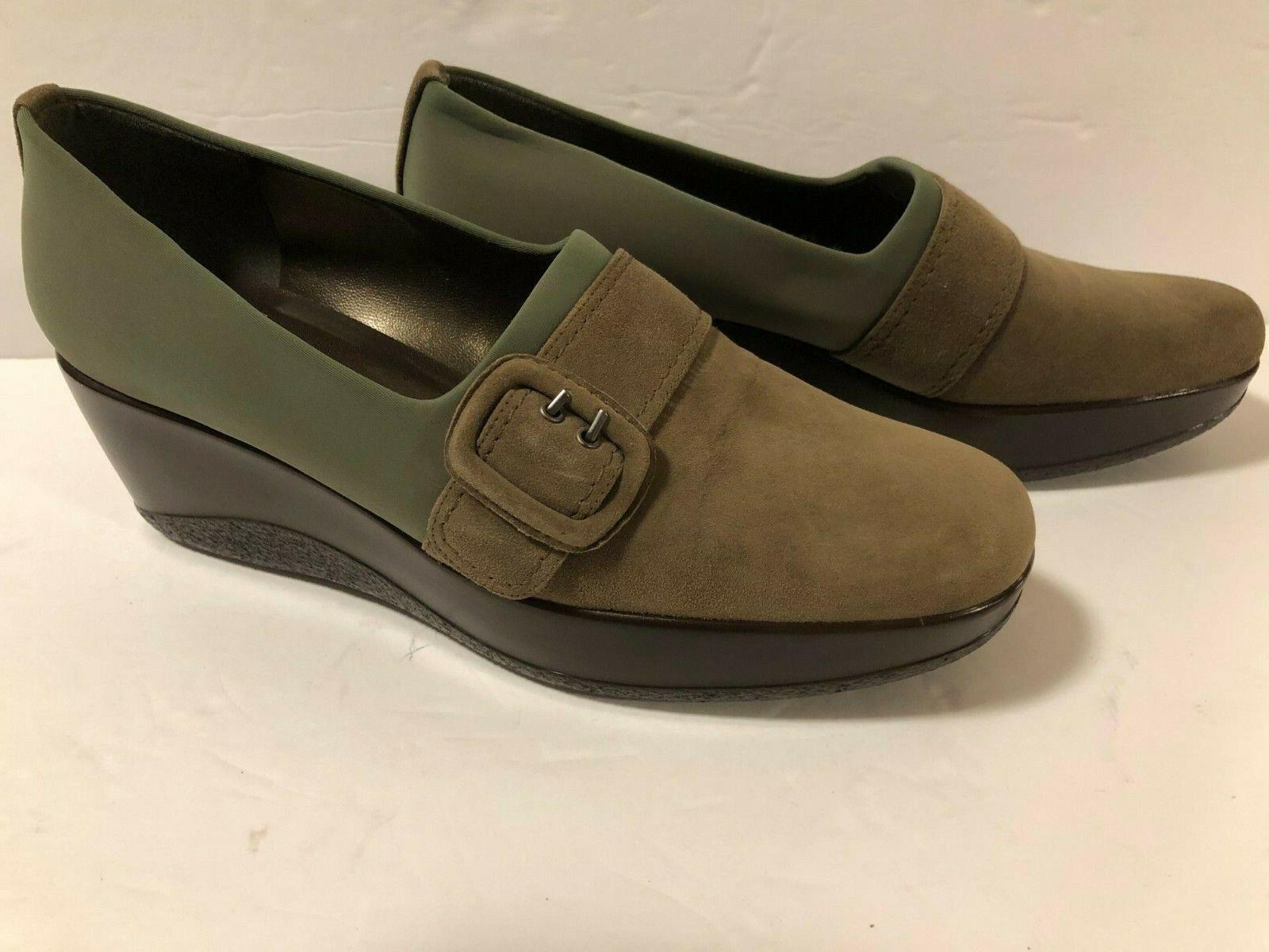 STUART WEITZMAN shoes Wedge Buckle Taupe Suede Green Nylon EUC Size 8 1 2