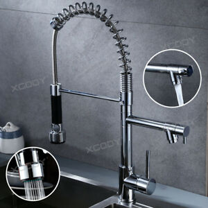 Details About Spring Chrome Industrial Kitchen Sink Faucet Swivel Pull Out Sprayer One Handle