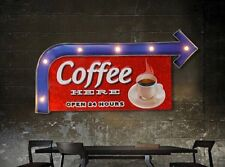 COFFEE SHOP, KITCHEN LED Metal Sign Vintage Look. PERFECT FOR GAME ROOM/ KITCHEN