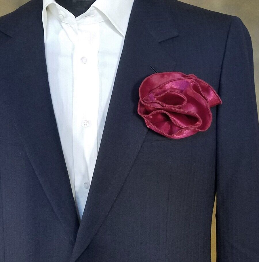 NEW - Men's 2-in-1 Pouf Rounded Pocket Square - Burgundy Red - MORE COLORS