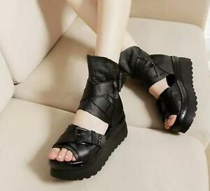 fc97b1eaec Details about Womens Black Leather Gladiator Sandals Platform Wedges Punk  Goth Creeper Shoes
