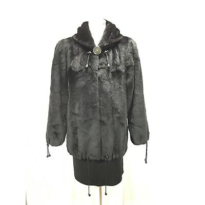AWESOME AESTHETIC ANTI CHILLY  USA BLACK PLUCKED MINK LADY FUR HOODIE FREE SHIPG