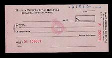 BOLIVIA BANKNOTE CHECK BANCO CENTRAL DE BOLIVIA SERIE A  PICK NL UNC-.