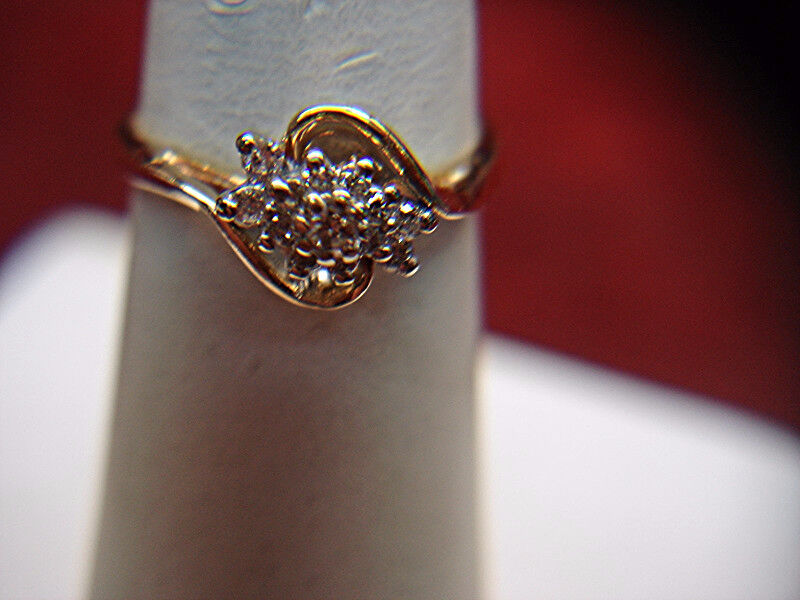 DARLING 14K YELLOW gold 12 DIAMOND RING - HAVE A LOOK