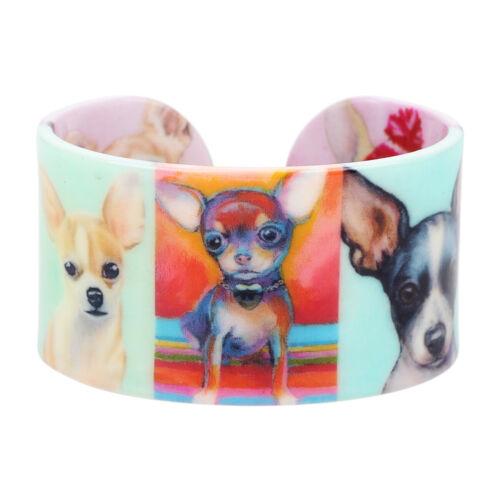 Acrylique Mignon Chihuahua Chien Animaux Imprimer Bracelet Rigide Pour Femme Enfant Charme Bijoux