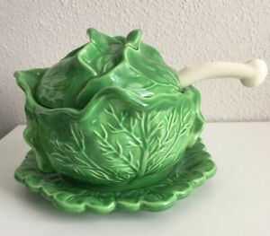 Vintage Holland Mold Ceramic Cabbage Soup Tureen Tray Lid And Ladle Spoon Ebay