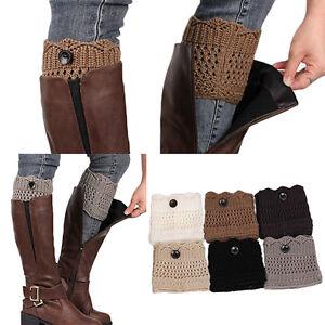 aa4dda9343b Women Winter Leg Warmers Button Crochet Knit Boot Socks Toppers ...