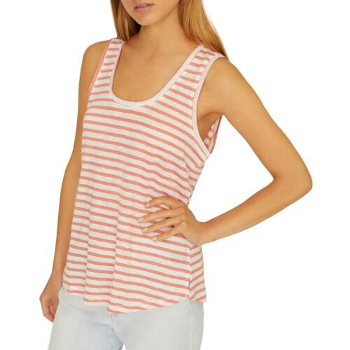 Sanctuary Womens Ruby Pink Linen Striped Sleeveless Tank Top Shirt XL BHFO 6300