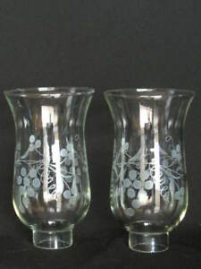 Great ... Pair Vintage Hurricane Lamp Shades Chimney Clear Etched