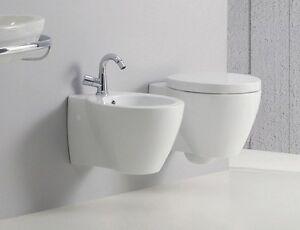 Azzurra Ceramica Sanitari Spa.Coppia Sanitari Bagno Vaso Coprivaso E Bidet Sospesi Full 54 Azzurra
