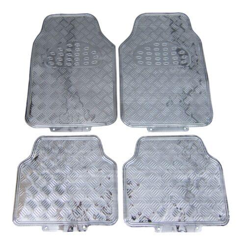 4x Gummi Fußmatten Gummifußmatten Autoteppich VORN HINTEN Chrom Carbon Look