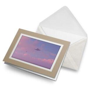 Greetings-Card-Biege-UFO-Alien-Spaceship-Sci-Fi-Space-8128