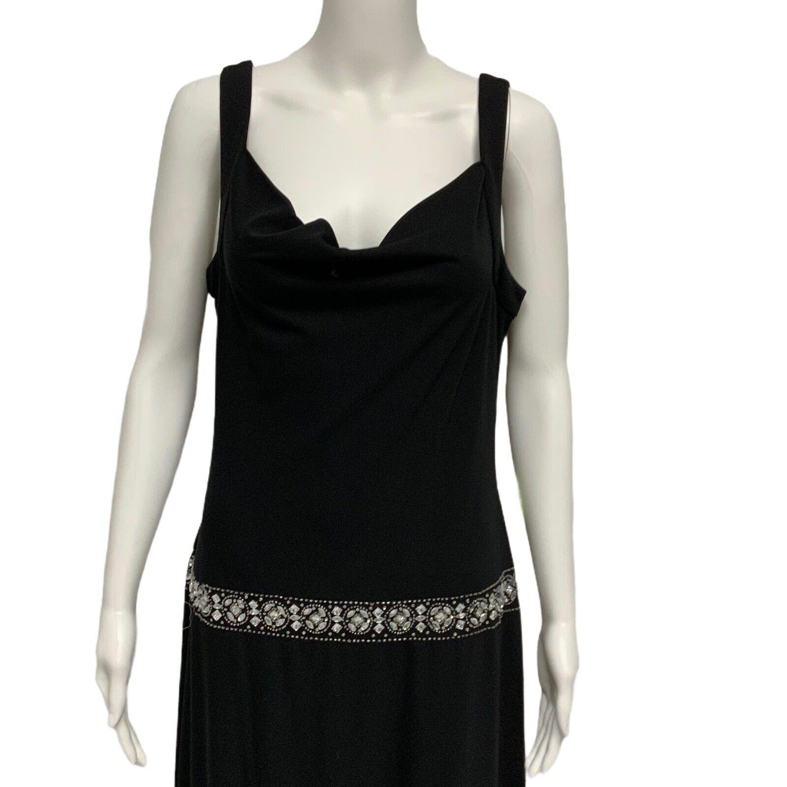 Night Way Collection evening formal dress black sleeveless size 14