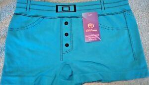 Femmes-Designer-Bleu-Denim-Motif-Shapewear-Boxer-Shorts-L-XL-16-18-20