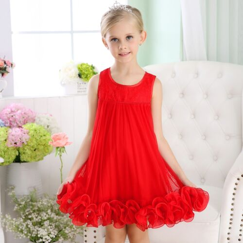 Girls Baby Formal Dress Party Dress Ruffle Dresses Dance Chiffon Red SZ 3//9m-6