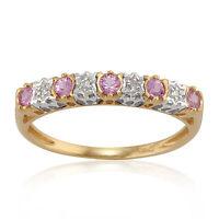 9ct Yellow Gold 0.26ct Pink Sapphire & 2pt Diamond Half Eternity Band Ring