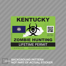 Zombie Kentucky State Hunting Permit Sticker Decal Vinyl Ky