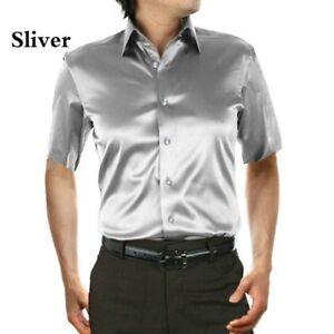 quality design aa355 9a0a9 Dettagli su UOMO finta seta abito di raso Camicie maniche corte bottoni  BUSINESS