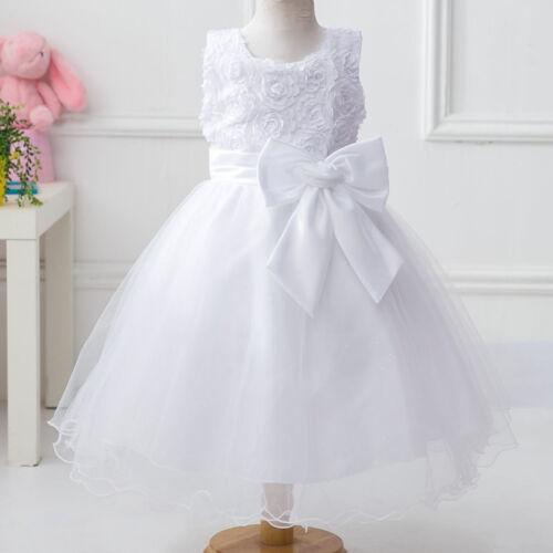 Girls Flower Dress Large Rose Bow Sleeveless Formal Party Wedding Bridesmaid 2y