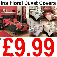 IRIS Floral Polycotton Duvet Cover with Pillowcase Quilt Cover Bedding Set