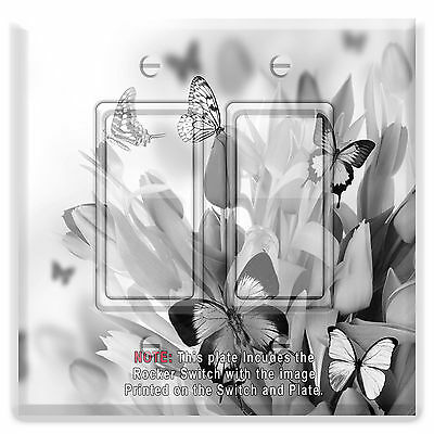 Light Switch Plate Cover Black White Butterfly Flowers w/ Rocker Switch  Outlet
