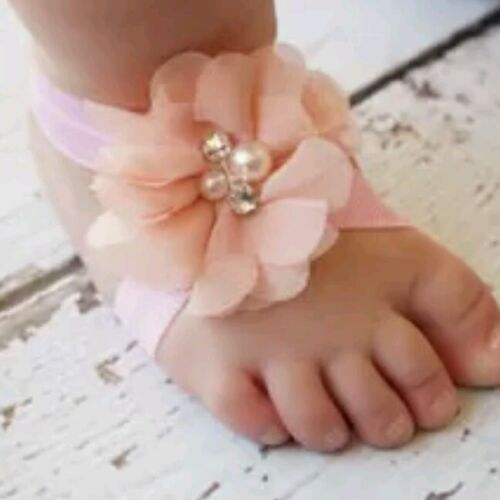 Baby// Reborn Headband and Barefoot Sandals Set Pink Butterfly Rosebud