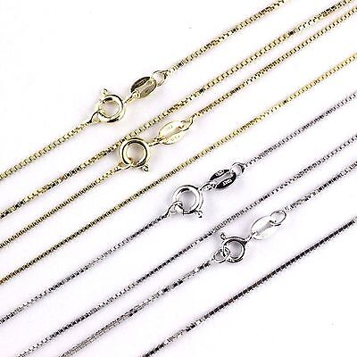 Womens Mens Kids 925 Sterling Silver Box Chain Necklace Italy Wholesale prices