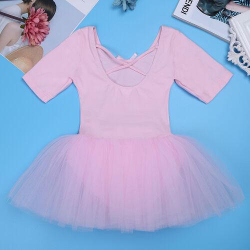 Kids Girls Gymnastics Tutu Ballet Dance Dress Leotard Skirt Ballerina Costumes