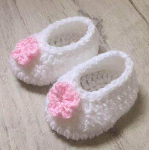 Handmade Crocheted//Knitted Girls Booties//Ballerinas 0-3 3-6 /& 6-9 Months